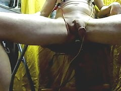 anal electro ESTIM and elec nipples, cum with cam on floor